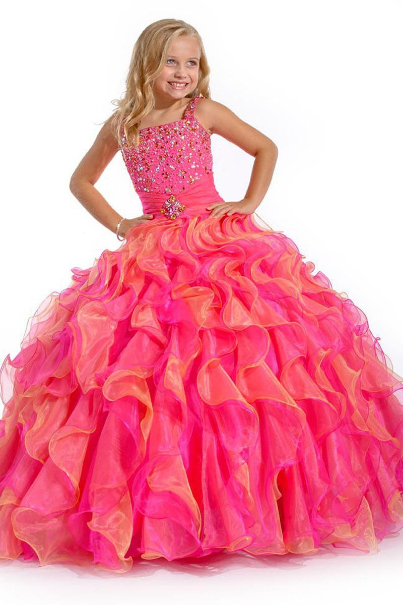 MZ0055 Hot Pink and Orange Ball Gown Cap Sleeve Ruffled Beads and Sequins Flower Girl Dresses $119.89