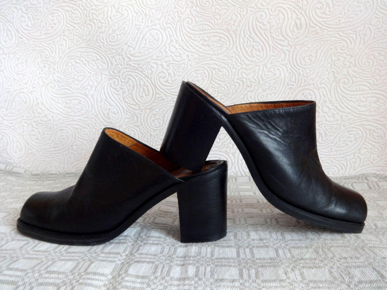 57725a591b5c0 Black Genuine Leather Mules Slip On Shoes Women's Vintage 90s Shoes ...