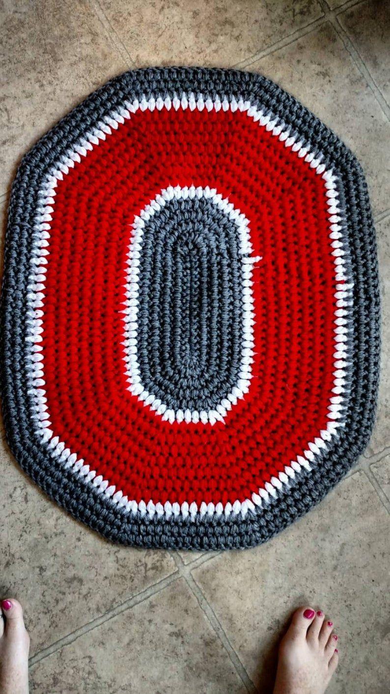 Ohio state buckeyes crochet rug handmade block o throw