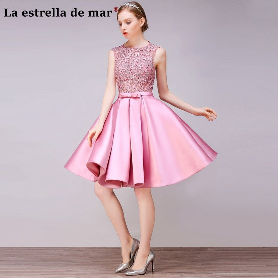 Vestido Madrinha2018 New Lace And Satin A Line Pink Red