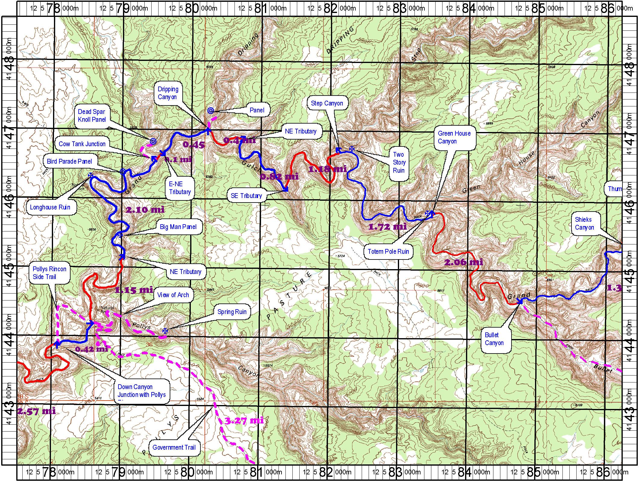 Topo-Map-of-Grand-Gulch-Topo-Map-3 Bullet-Canyon to Pollys ... on