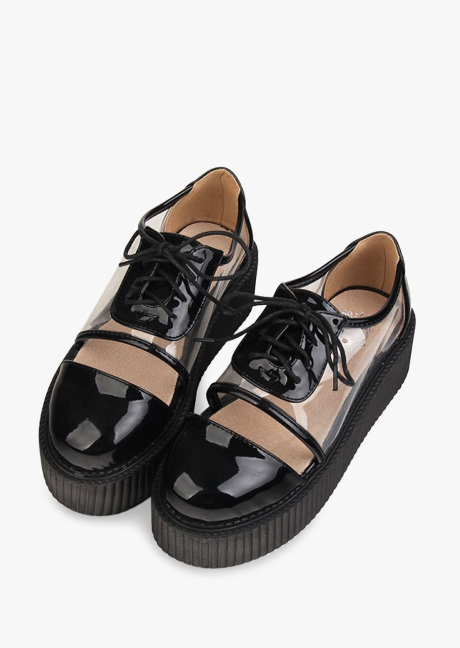 27502205fac Sapato feminino 2015 women platform shoes fashion punk style t k shoes lace  up transparent shoes creepers women harajuku shoes