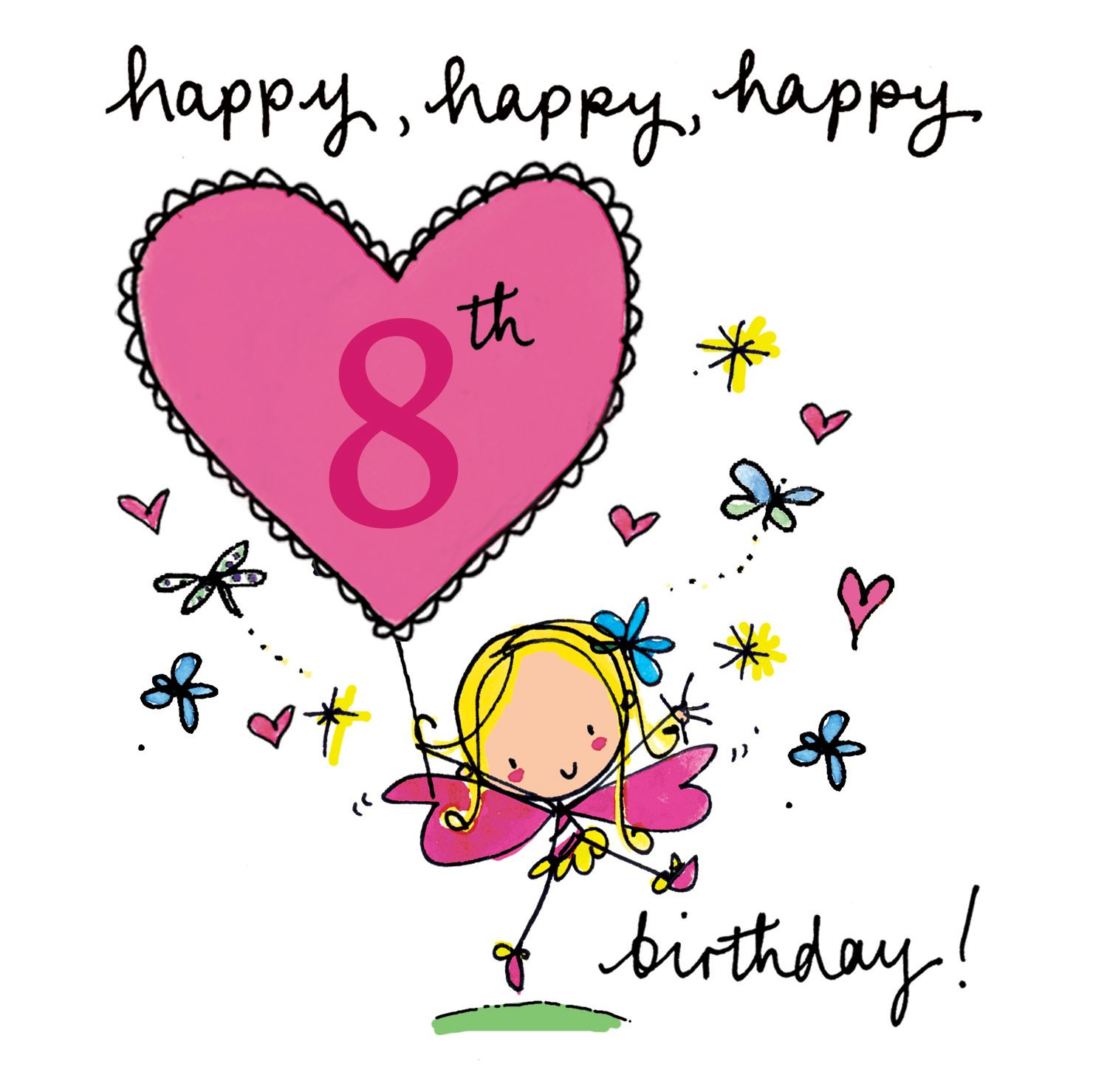 Beautiful Greeting Card For A Beautiful Daughter On Your 8th Birthday