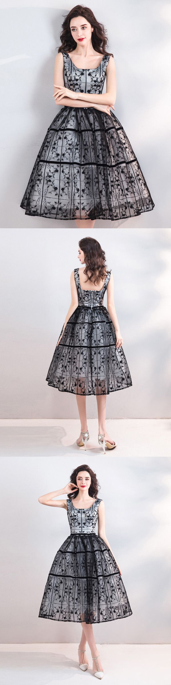 Vintage black homecoming dress lace party cheap homecoming dress