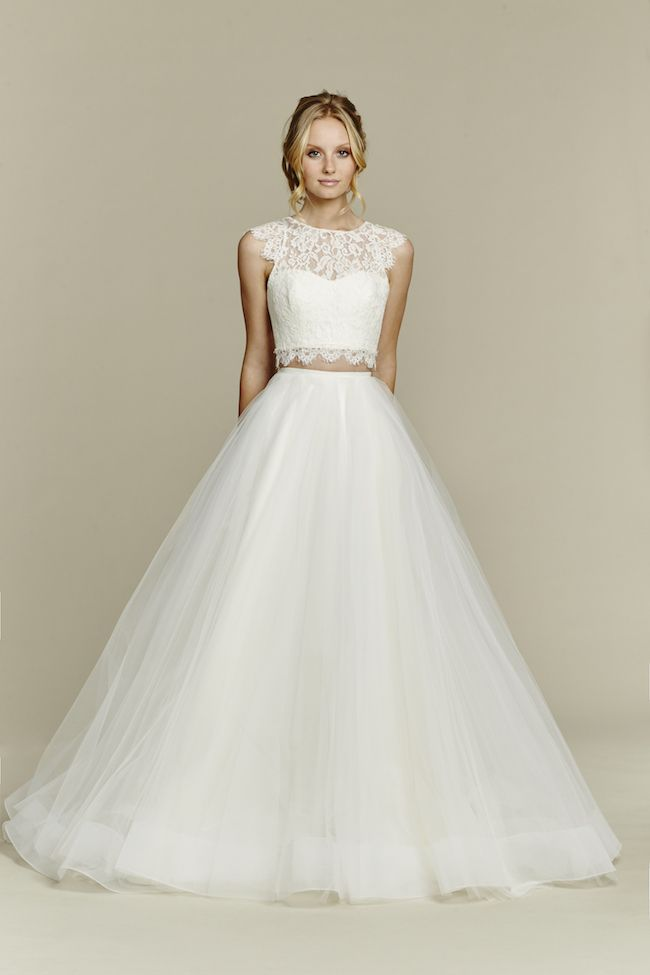 61ecef889c043 2 piece bridal gowns: An absolute stunner from Blush by Hayley Paige, this bridal  two piece ball gown has the cutest, lacy crop top with a pretty keyhole ...