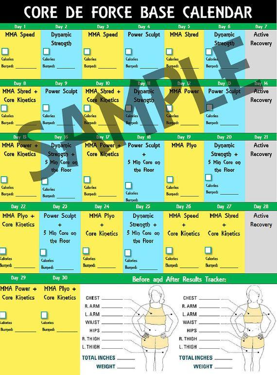 Core de Force Base Calendar 30 day workout schedule, 2 page color
