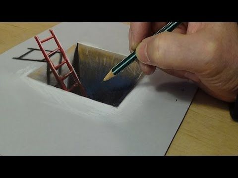 3D Drawing for Kids - How to Draw Red Ladder in the Hole - Trick Art