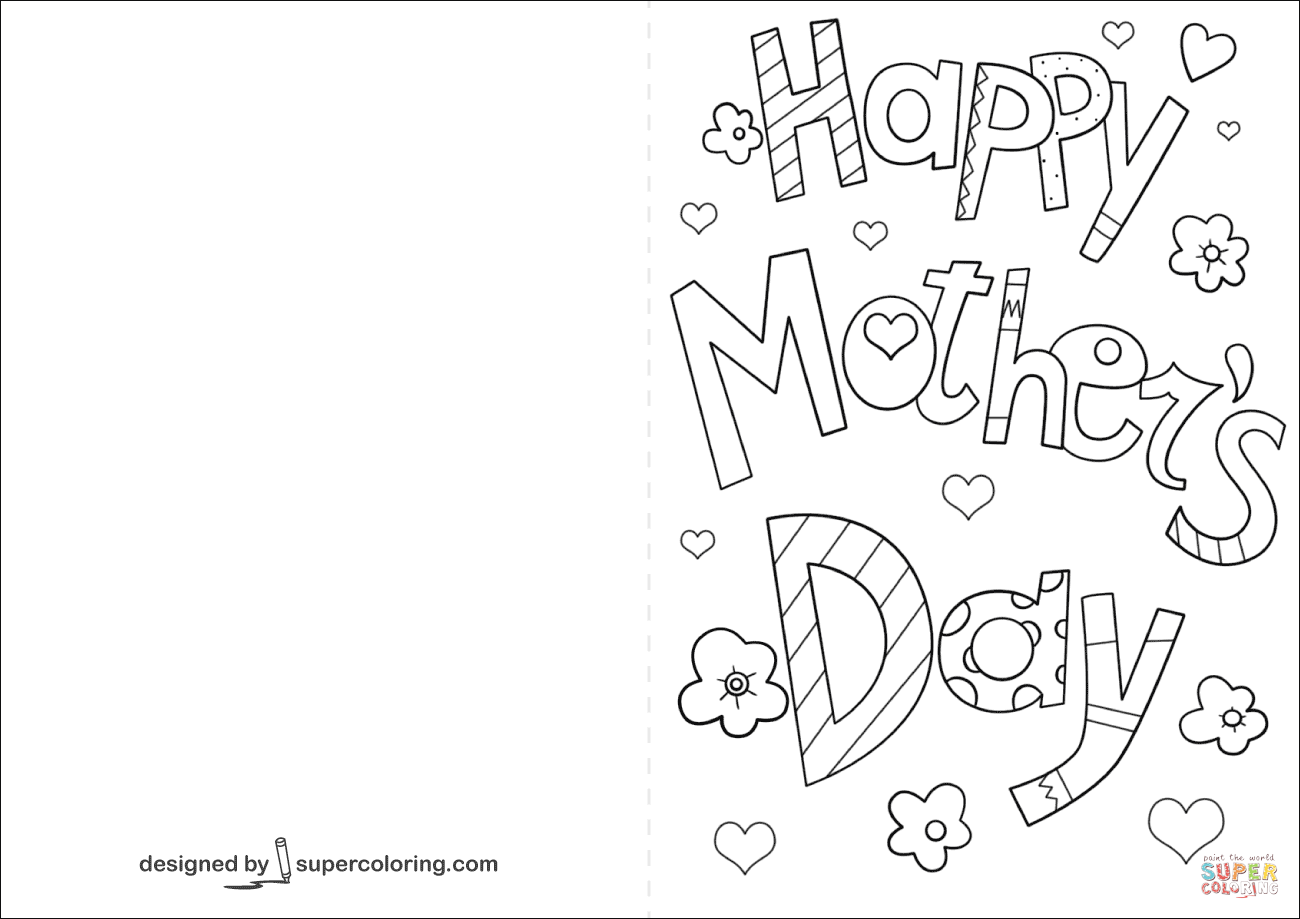 Happy Mother S Day Card Coloring Page Free Printable Coloring Pages Mothers Day Card Template Mothers Day Coloring Pages Mothers Day Cards Printable