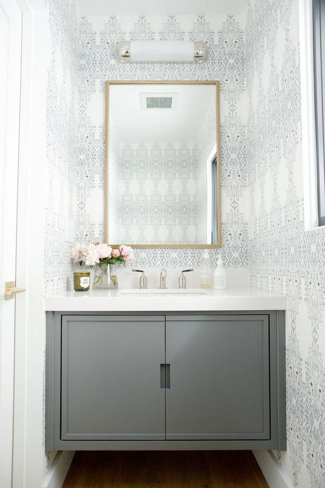 Light Mirror Combinations For Your Bathroom Powder Room Wallpaper Small Bathroom Vanities Powder Room Vanity