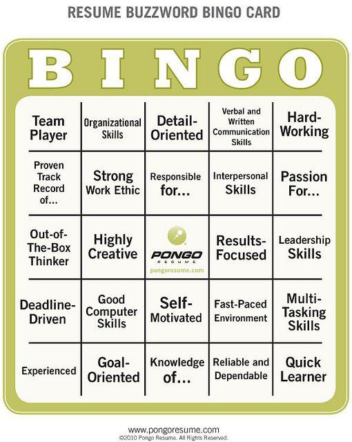 Resume Buzzword Bingo Buzzword bingo - pongo resume login