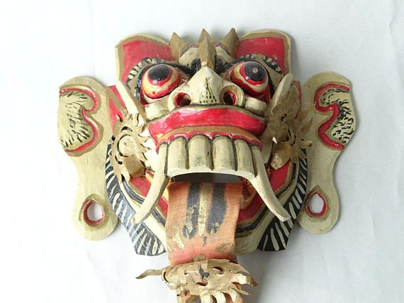 Vintage Wooden Balinese Mask, Decorative Mask, Asian Home Decor ...