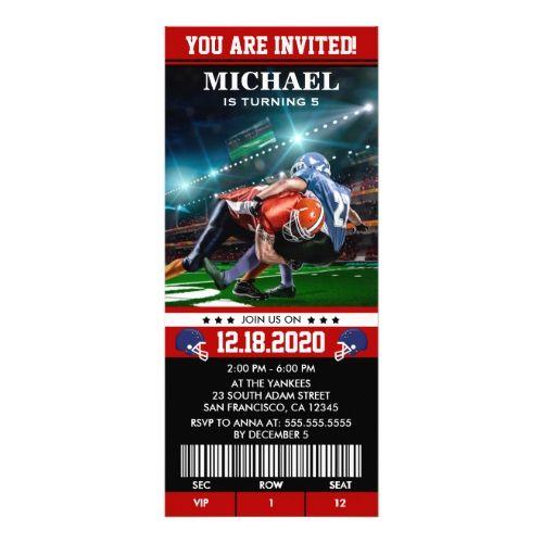 Sports Themed Football Birthday Party Ticket Card Birthday - ticket invitation template