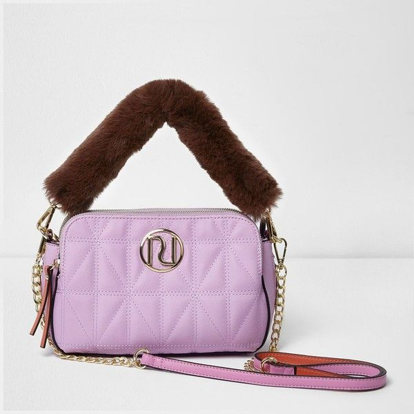 5a2ddcdd9fe River Island Pink quilted faux fur strap cross body bag (240 SAR) ❤ liked  on Polyvore featuring bags, handbags, shoulder bags, bags   purses, cross  body ...