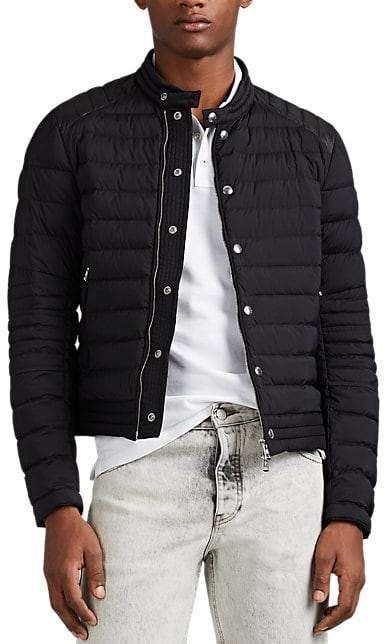 Moncler Men's Barral Down Quilted Moto Puffer Jacket Black