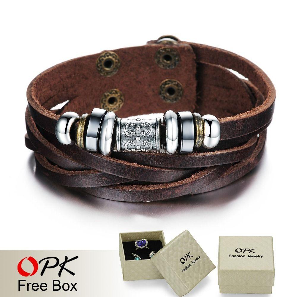 Opk jewelry trendy brown leather bracelet u bangle men fashion wrap