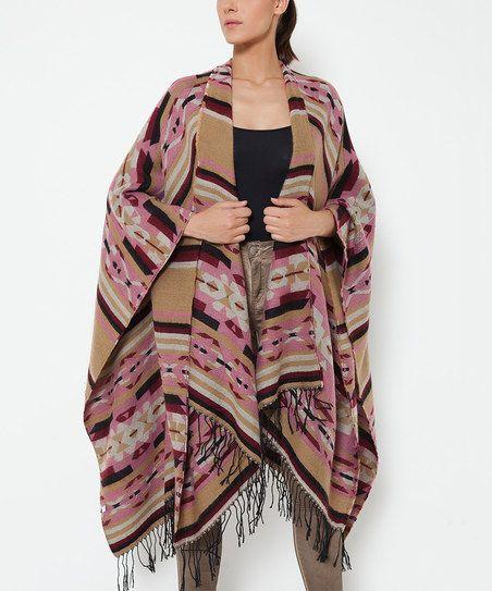 Tantra Pink & Tan Geometric Wool-Blend Poncho - Women | zulily