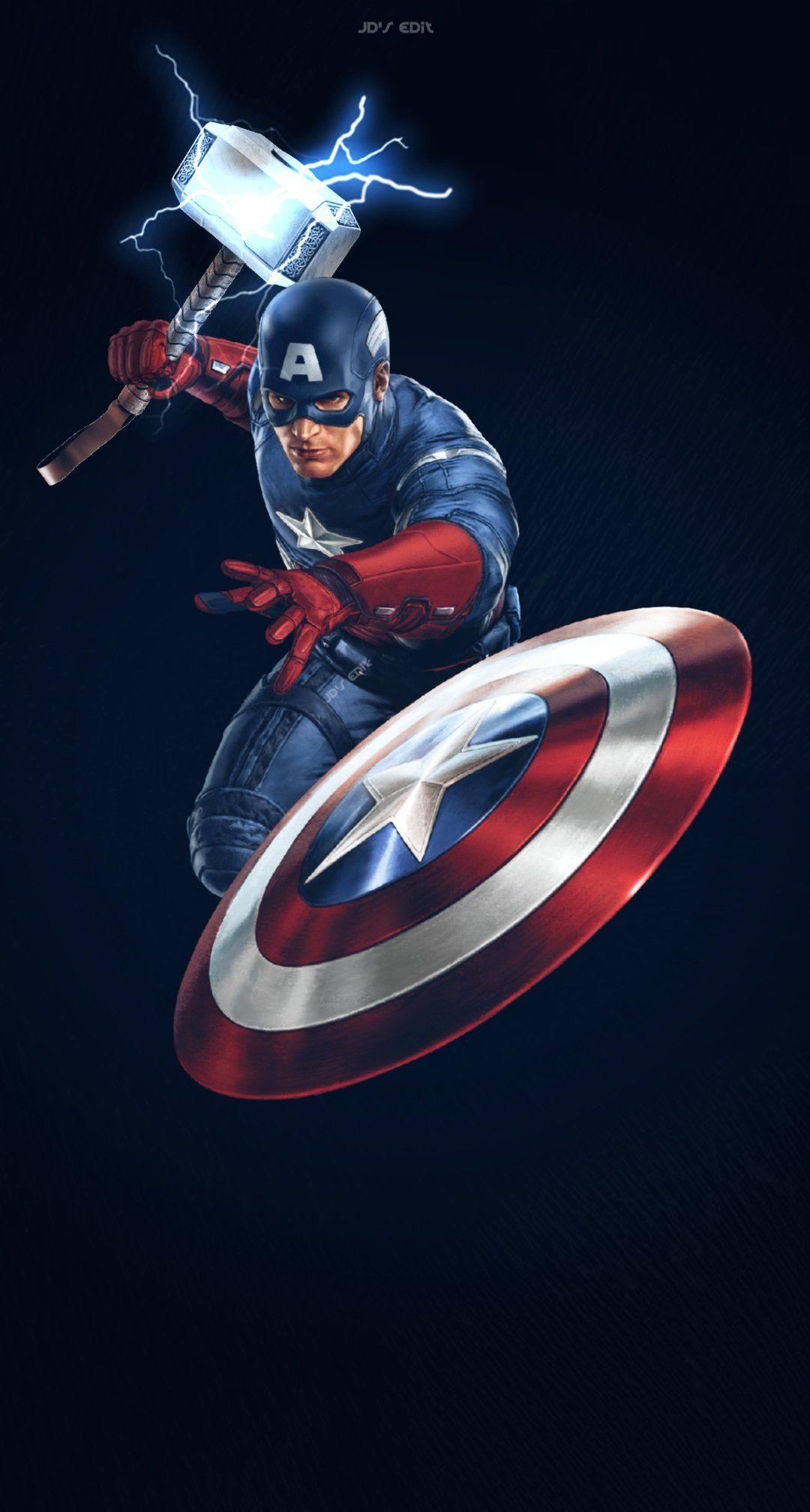 """THE RONALDO TOUR on Twitter: """"Captain America feat Mjolnir wallpaper . Avengers End Game . #endgame Wallpaper… """""""