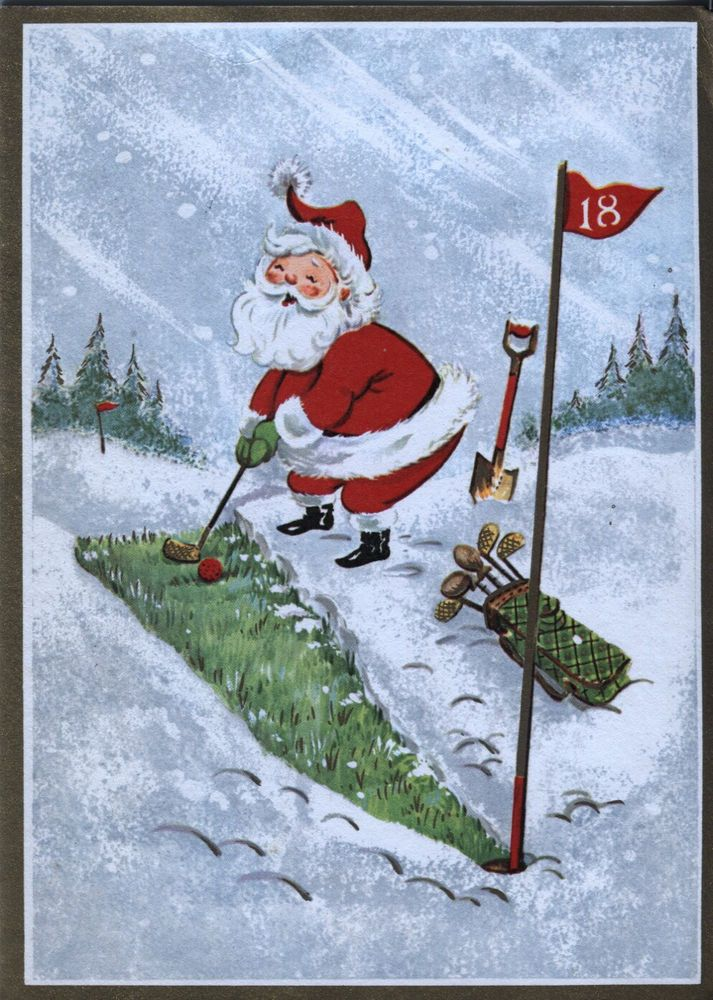 Vintage Christmas Card: SANTA CLAUS GOLFING | Santa Claus is Coming ...