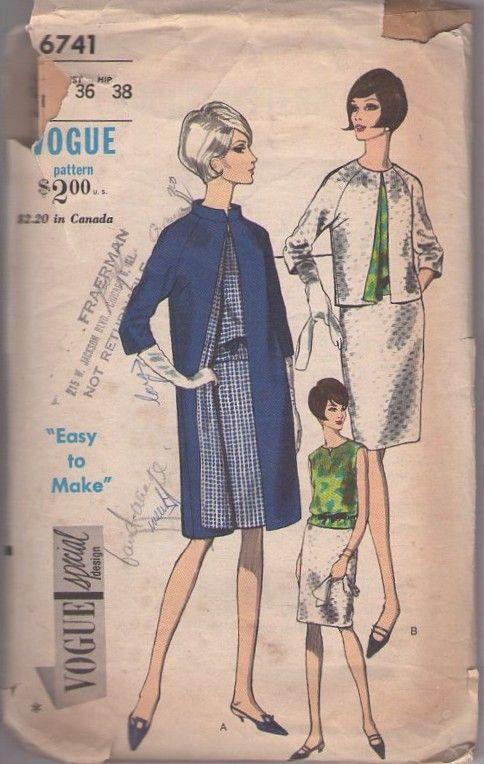 MOMSPatterns Vintage Sewing Patterns - Vogue 6741 Vintage 60\'s ...