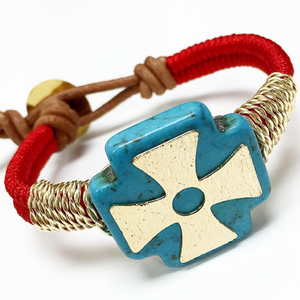 Bracelets By Vila Veloni Big Stone Blue Cross