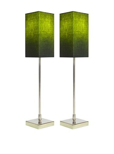 Filament Set of 2 Slim Square Table Lamps with Contrast Shade, Black/Green
