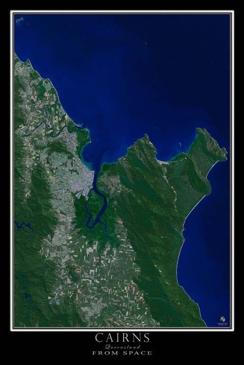 cairns queensland australia satellite poster map