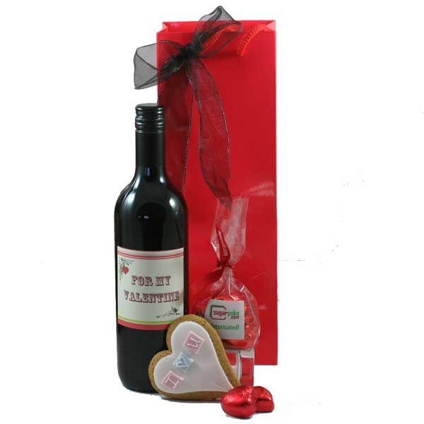 For my Valentine 'For My Valentine' Red Wine - a light French red wine with a smooth finish for a romantic glass or two... I Love You Heart Shaped Gingerbread Cookie Intoxicated - a cute bag containing six simply delectable thick heart shaped milk chocolates £14.99