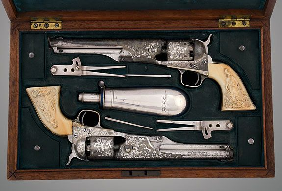 Never knew Tiffany made Arms!  Cased Pair of Presentation New Model Belt or Navy Pistols (popularly known as the Colt Model 1861 Navy), 1863/1867. Robert M. Lee Collection © 2012 Robert M. Lee Trust. All rights reserved. No reproduction of photos without prior permission.