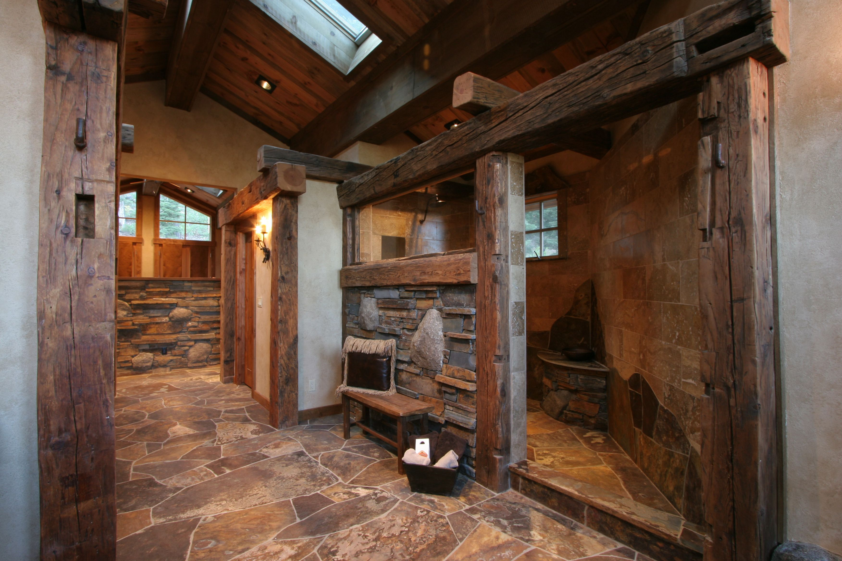Rustic Master Walk In Shower - High Camp Home Big