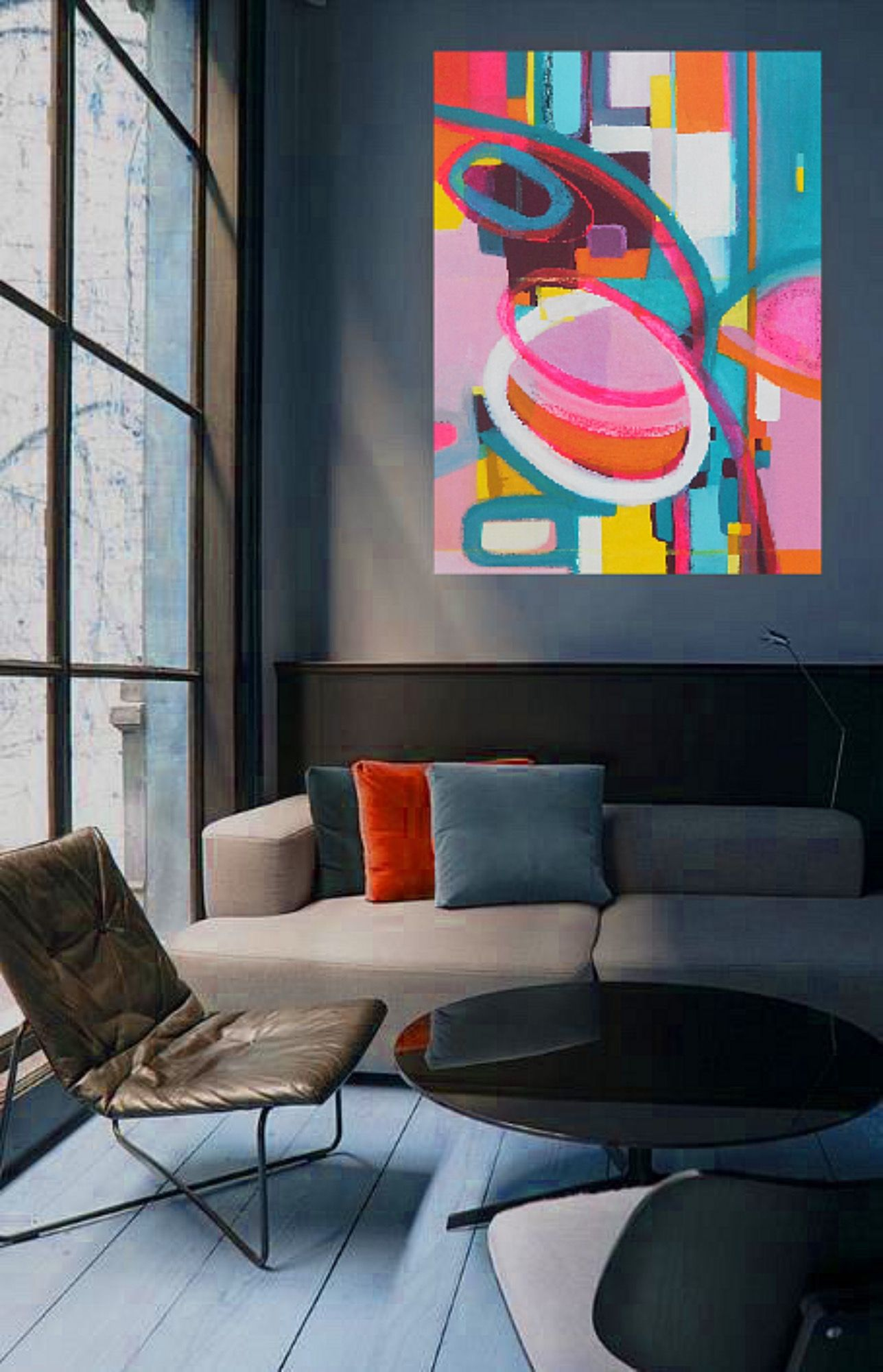 Bold Colorful Large 40 X 30 Abstract Art Oil Painting By Danielle Nelisse Completes Interior Design Accessories La Bedroom Artwork Art Painting Inspiration