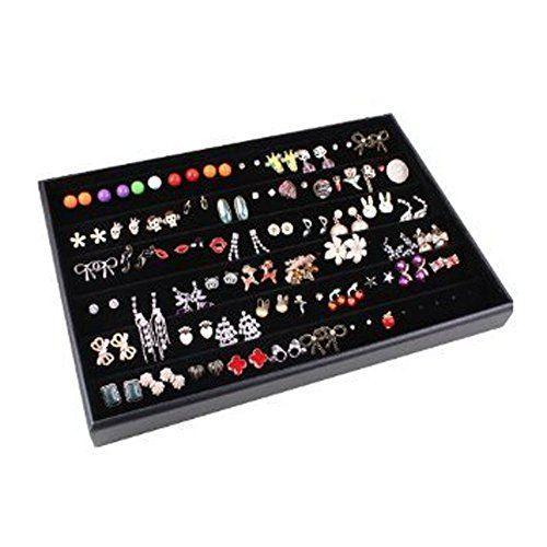 Glitterymall Black Velvet 60 Pairs Stud Earring Holder Jewelry