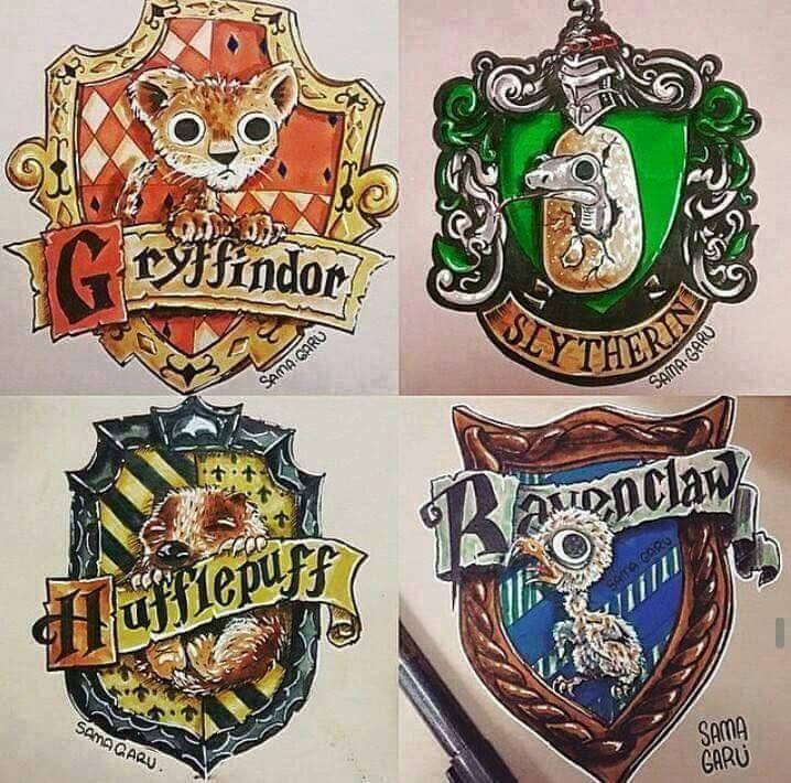 baby mascots hogwarts houses