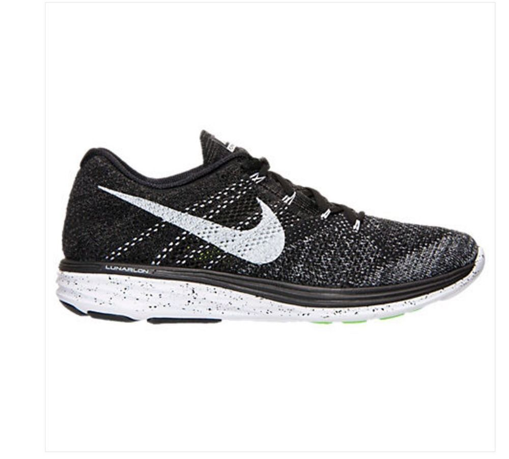 buy popular bdeb4 441fc ... Nike Flyknit Lunar3 Mens Running Shoes 13 Black White Fog Grey 698181  010 Oreo Nike  Best Cheap ...