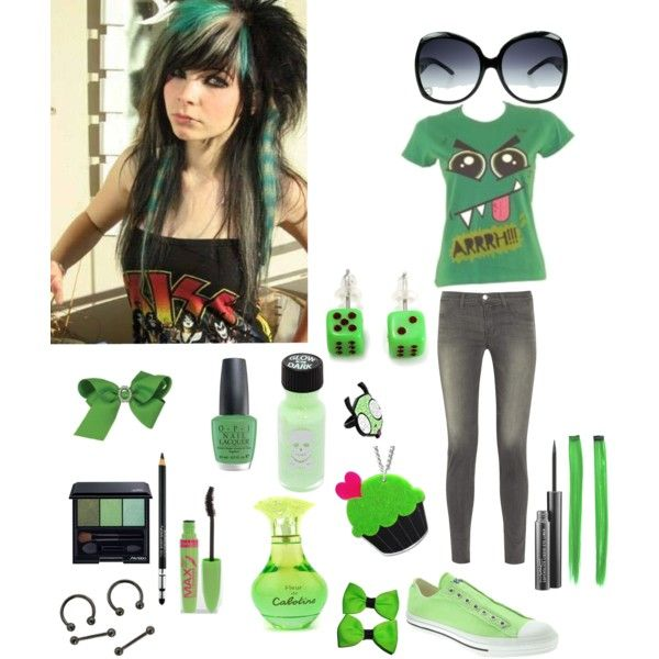 green emo scene quenn by nasialove on Polyvore featuring J Brand, Converse, Sweet & Co., Avalaya, ELSE, Miu Miu, Clips, Shiseido, Rimmel and MAC Cosmetics