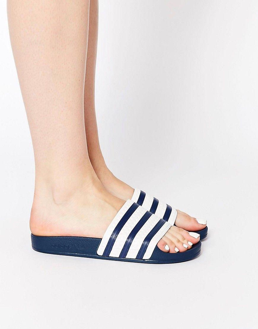 Buy Women Shoes / Adidas Originals Adilette Navy Flat Slider Sandals