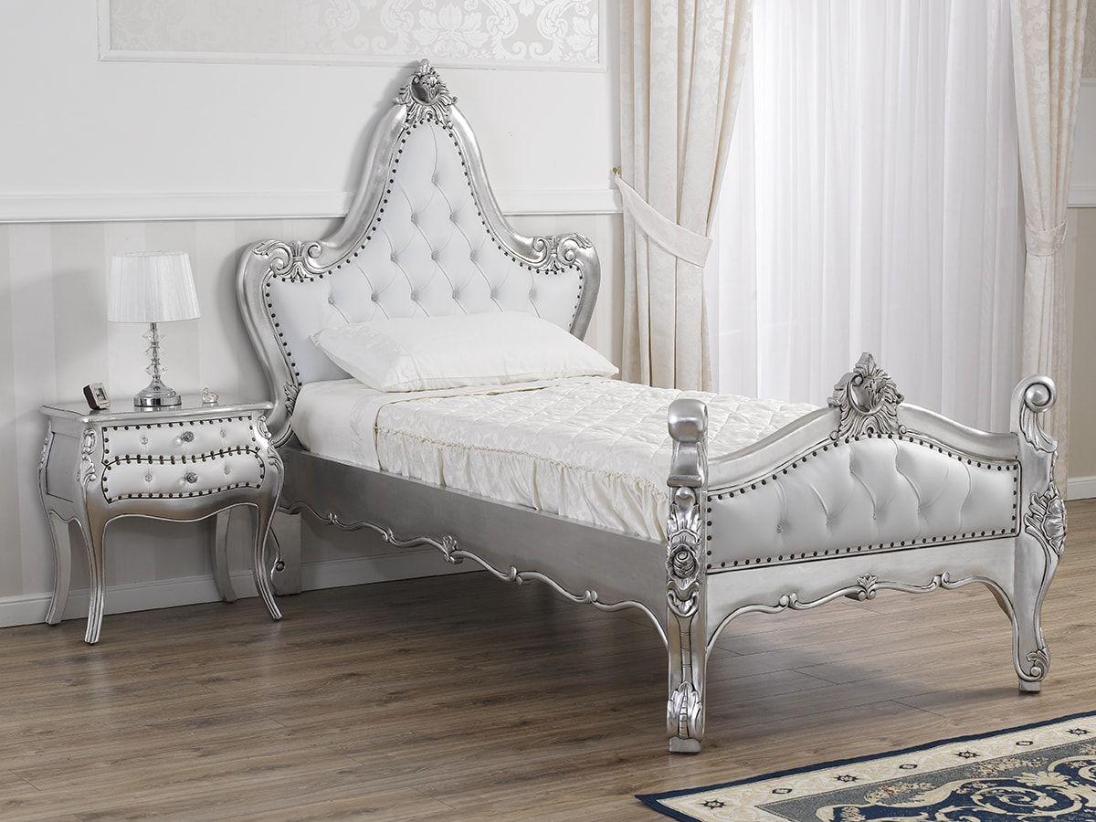 Letto stile Barocco Moderno singolo foglia argento ecopelle bianca ...