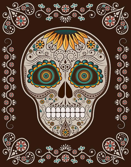 day of the dead sunflower sugar skull canvas print canvas art by