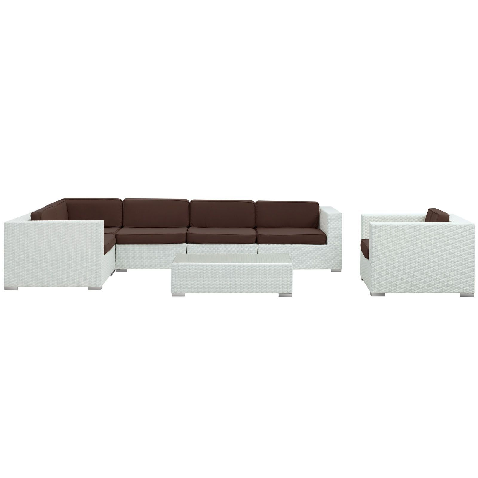 Lexmod Corona Outdoor Wicker Patio 7 Piece Sectional Sofa