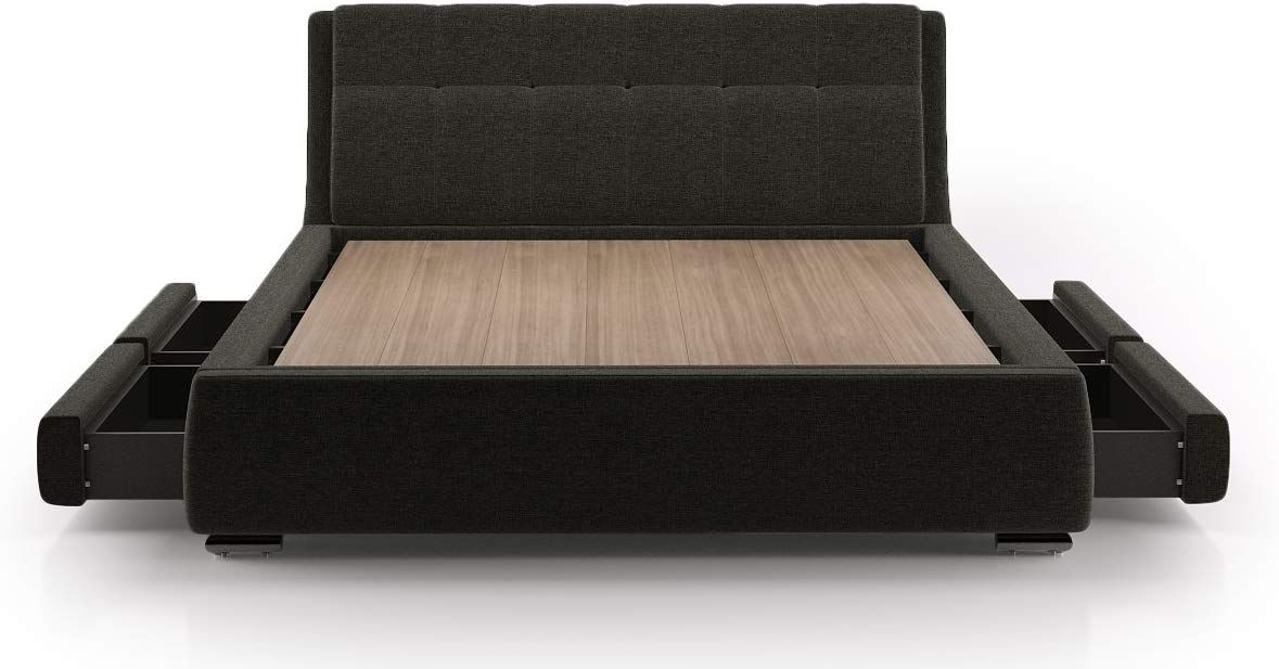 Urban Ladder Stanhope King Size Upholstered Double Bed Charcoal