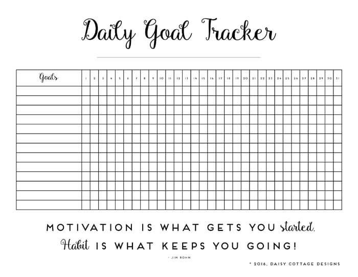 daily habit tracker a printable goal tracker i could do this