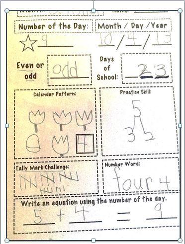Student Work Sample For First Grade Using Calendar Math Recorder