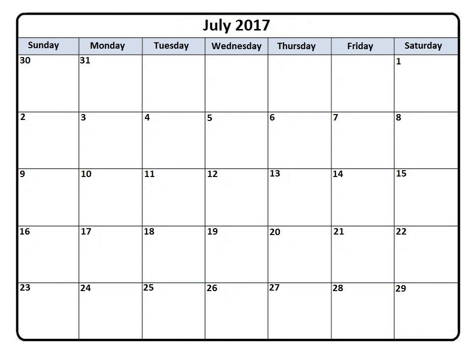 July 2017 Calendar Template    hightidefestivalorg july - blank calendar pdf