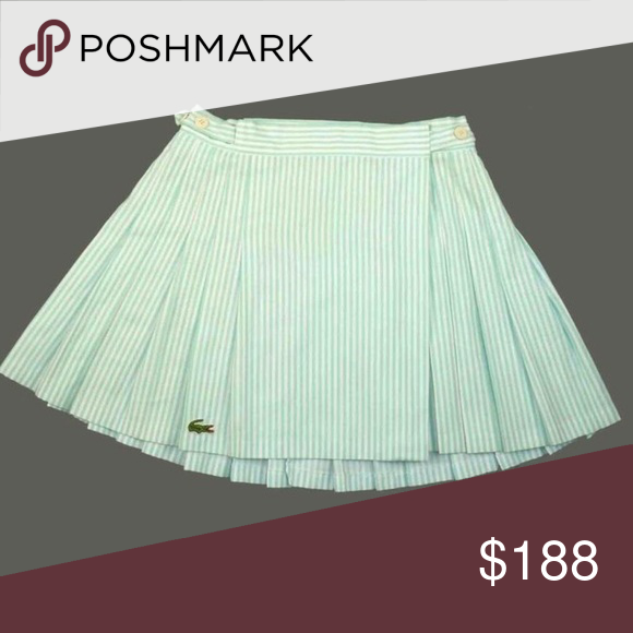 Vintage Lacoste Pleated Blue Stripe Tennis Skirt Tennis Skirt Vintage Skirt Lacoste