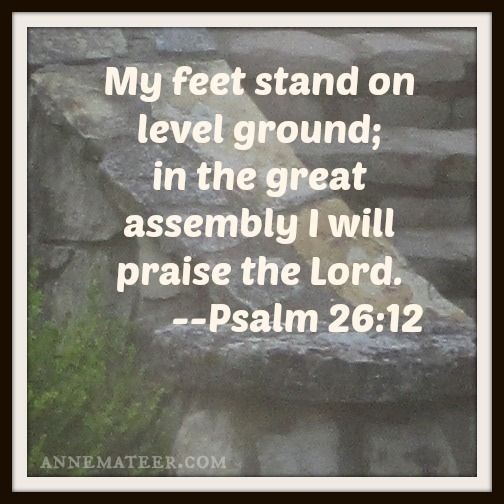 d06a714ae6205 Psalm 26 12 (KJV) ~~ My foot standeth in an even place  in the  congregations will I bless the Lord.
