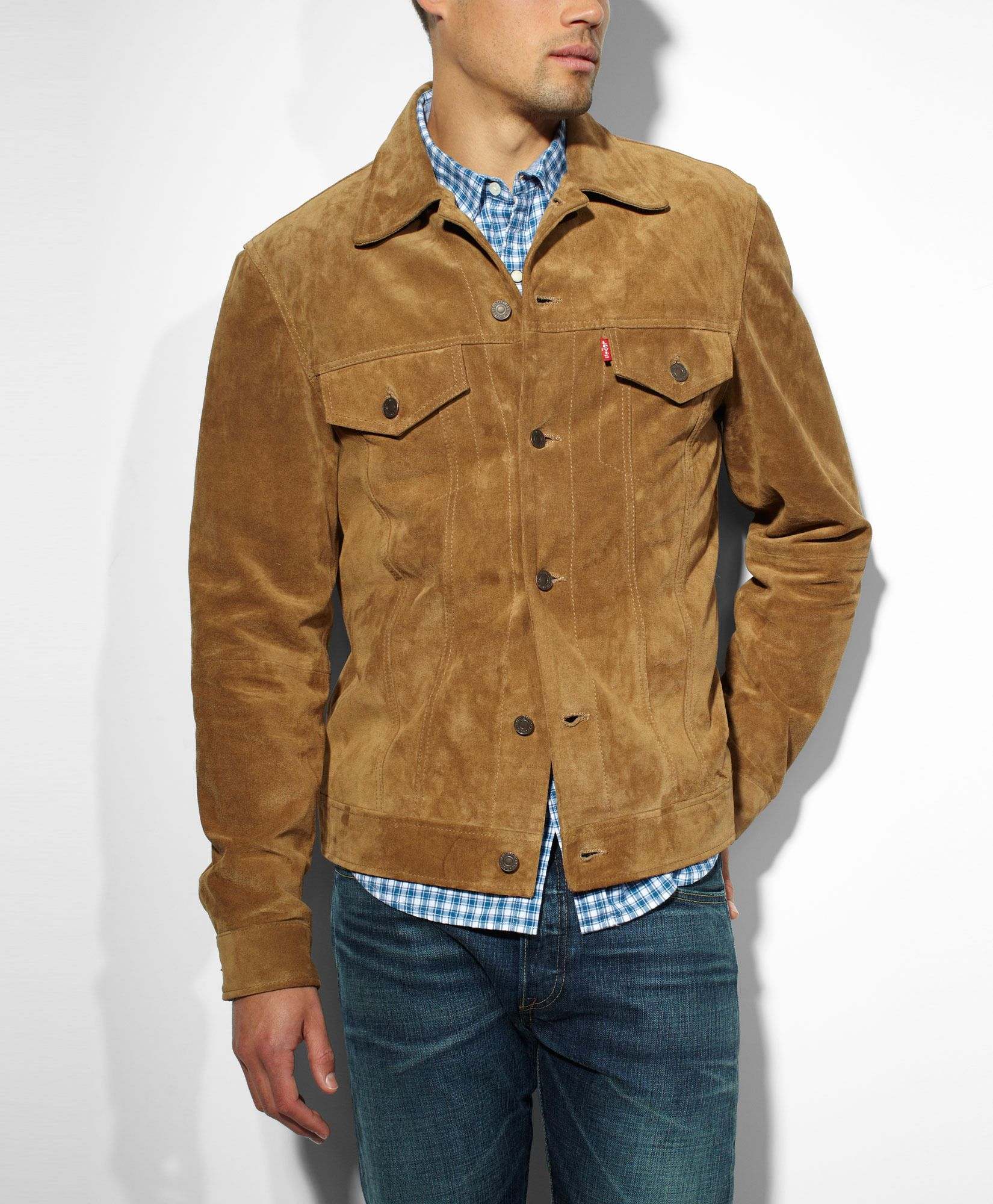 Levis Saddle Trucker Jacket Brown Suede Slim Fit