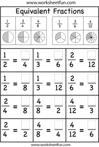 several Equivalent Fractions Worksheets | math, science, art ect ...