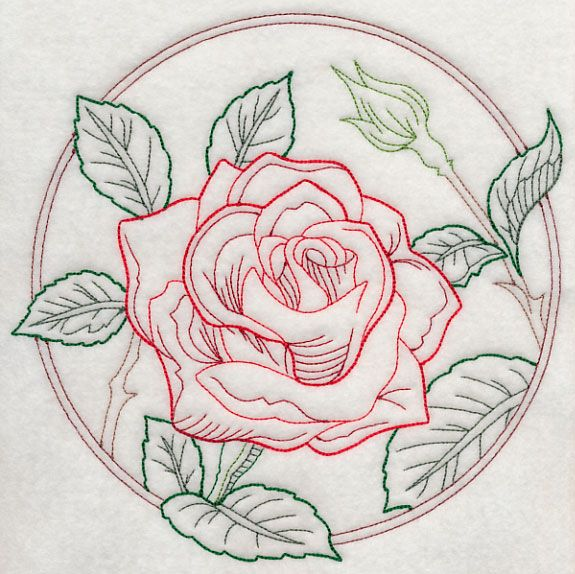 Elegant Flower Circle Rose Vintage Design H9820 From Www Emblibrary Com Redwork Embroidery Designs Embroidery Inspiration Machine Embroidery