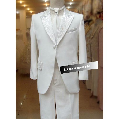 4 Piece Ivory White Slim Fit Fancy Wedding Dress Suits Tuxedos Men SKU-123278