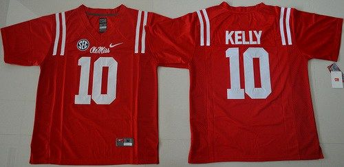 timeless design 7b6e7 64511 Men's Ole Miss Rebels #10 Chad Kelly Red College Football ...