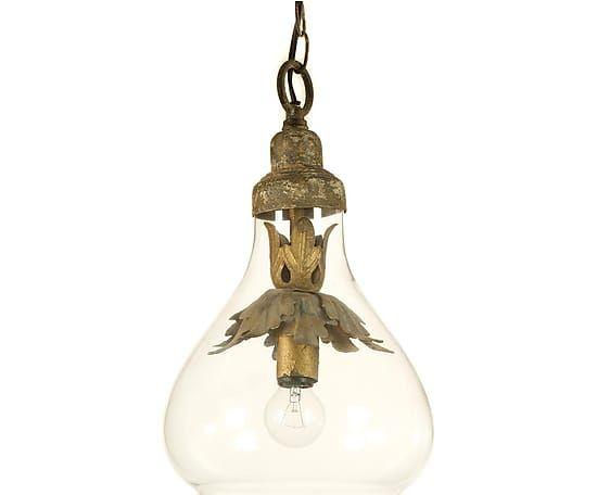 Lámpara de techo en hierro y cristal I